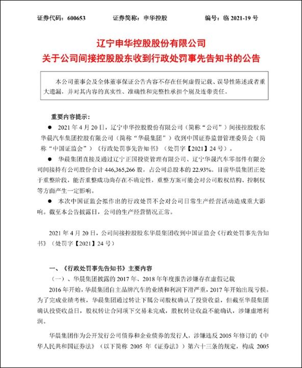 华晨集团被证监会罚款5360万