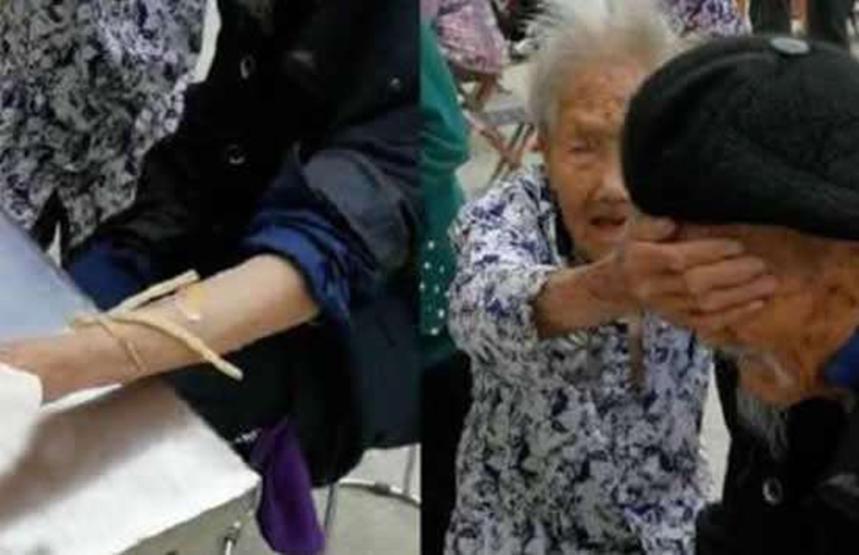 奶奶跳舞爺爺在背后扇扇子,太甜了