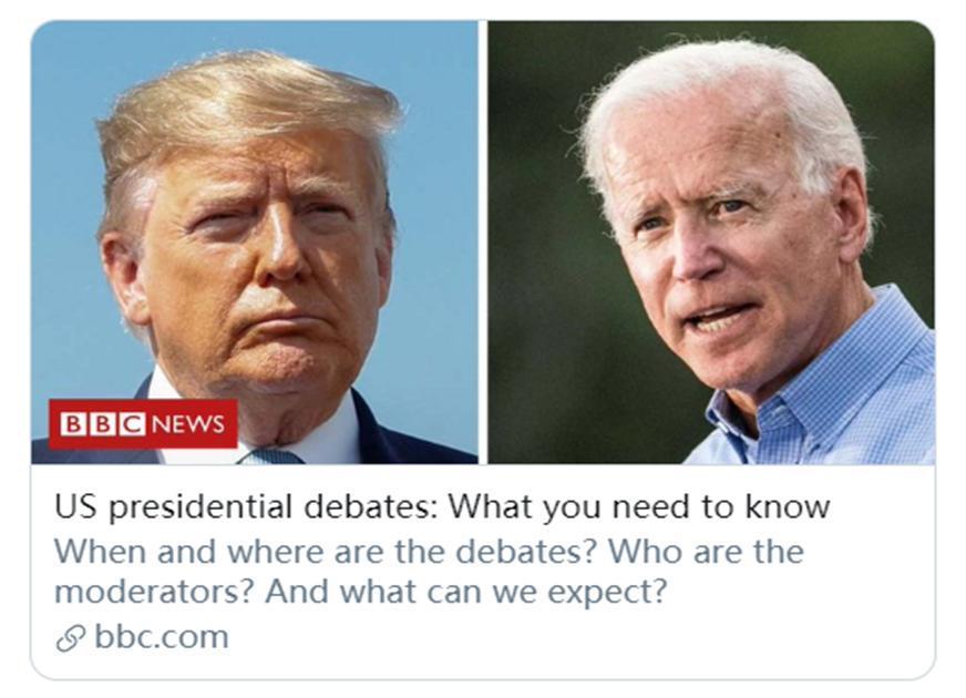 特朗普和拜登9月底将开展第一场辩论对决