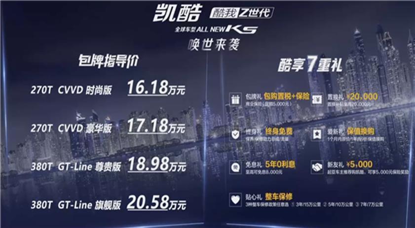 起亚全新K5凯酷上市:包牌包税落地16.18万起