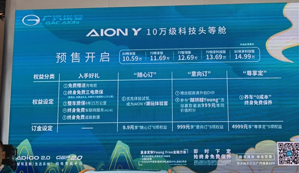 廣汽埃安公布AION Y預售價:10.59萬起